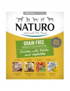 Naturo Dog Δισκάκι Σκύλου Grain Free Με Κοτόπουλο, Πατάτα Και Λαχανικά 400 gr