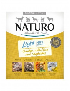Naturo Dog Δισκάκι Σκύλου Light Με Κοτόπουλο, Ρύζι Και Λαχανικά 400 gr